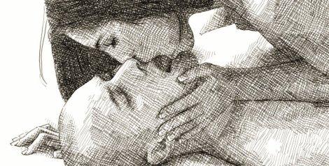 un baiser - dessin à la plume d'après photo