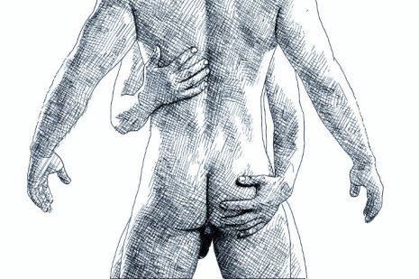 Two naked men hugging tight - ink drawing