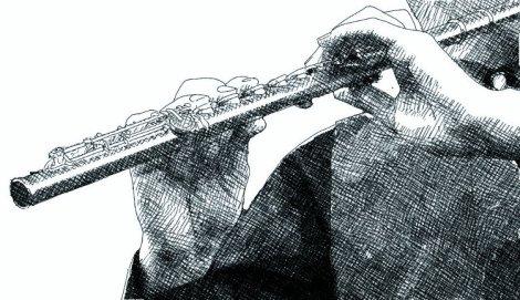 Un flûtiste et sa flûte traversiere