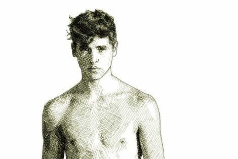 Hot young man (ink drawing)