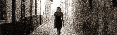 Woman alone at night in a dark cobblestone street - digital pen and ink drawing