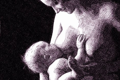 Mother breastfeeding her child. Digital pen and ink drawing.