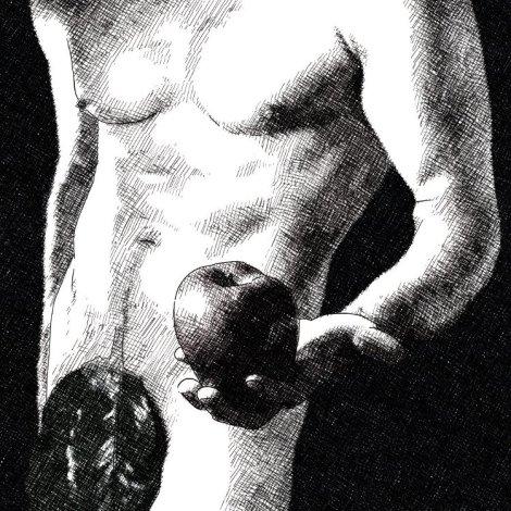Homme nu, pomme, feuille de vigne, dessin numérique, sites de rencontres extra-conjugales