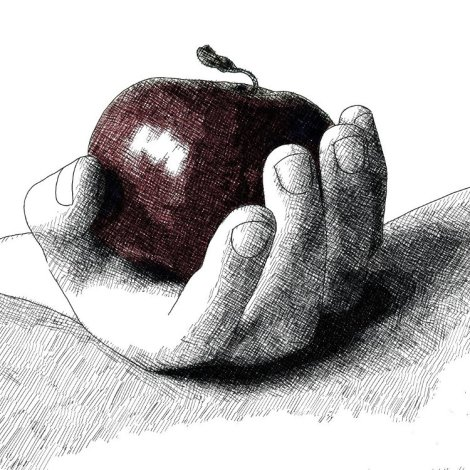 hand and apple - pomme et main