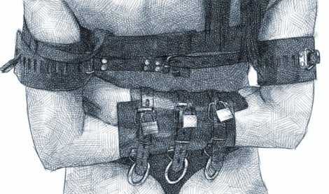kardelia wrists and elbows in tight leather cuffs