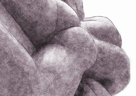 jolies fesses d'homme allongé - dessin numérique au crayon
