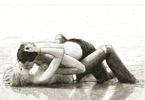 kissing on the beach ; dessin numérique au crayon