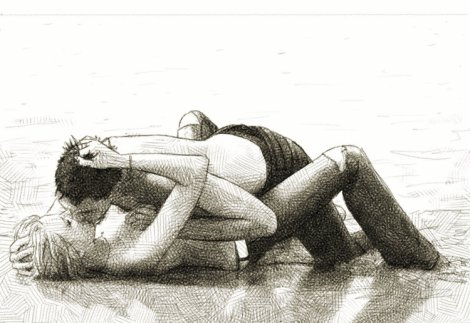 kissing on the beach ; dessin numérique au crayon