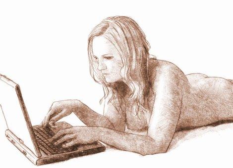 nu au portable, dessin numérique au crayon