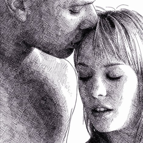 couple tender kiss, pen and ink digital drawing by audren