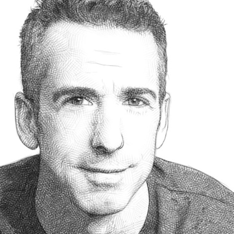 Pencil portrait of Dan Savage, famous sex columnist and gay rights activist