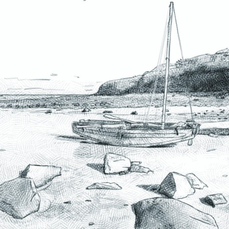 digital pencil drawing of a wooden sailboat stranded at low tide with boulders in the foreground