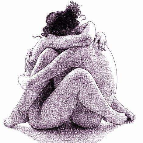dessin numérique à l'encre - deux femmes assises enlacées