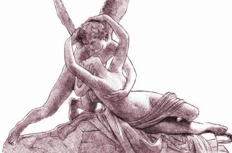 Eros et Psyché : dessin numérique au crayon, par Audren