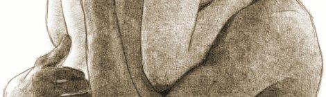 couple noir blanc dessin crayon étreinte nu sépia