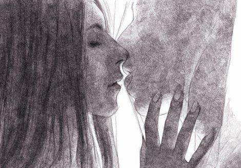 Un baiser à travers un voilage - dessin numérique au crayon
