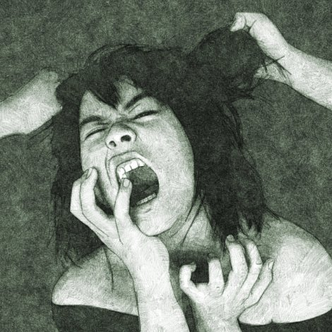 young woman crying of anger - digital pencil drawing by Audren, from reference photo by protogeny on deviantart
