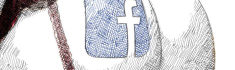digital ink drawing facebook logo tattooed on a butt cheek