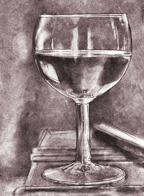 digital pencil drawing wine glass