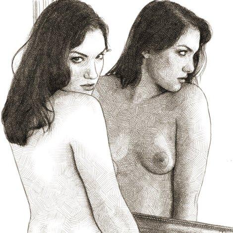 dessin crayon femme miroir