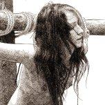 fille crucifiée, dessin à l'encre, infidélité, lapidation, adultère