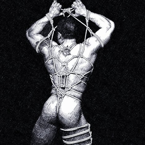 shibari male nude pencil drawing