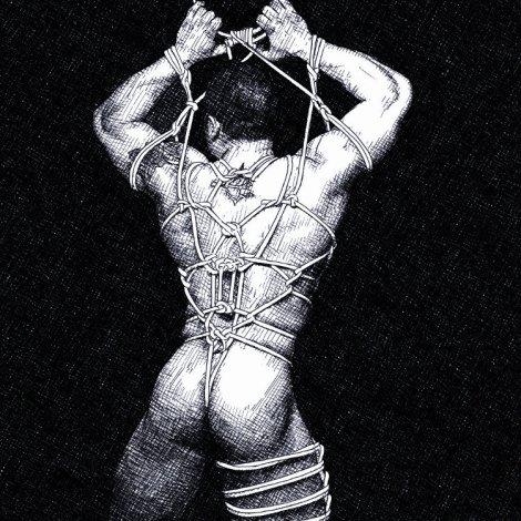 shibari male nude pencil drawing