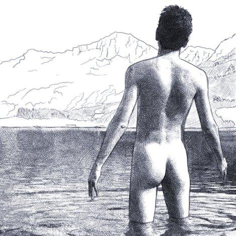 homme nu lac de montagne dessin numérique au crayon