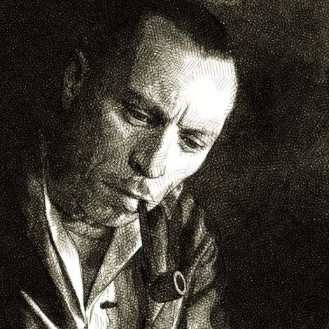 portrait au crayon de l'acteur Louis Jouvet