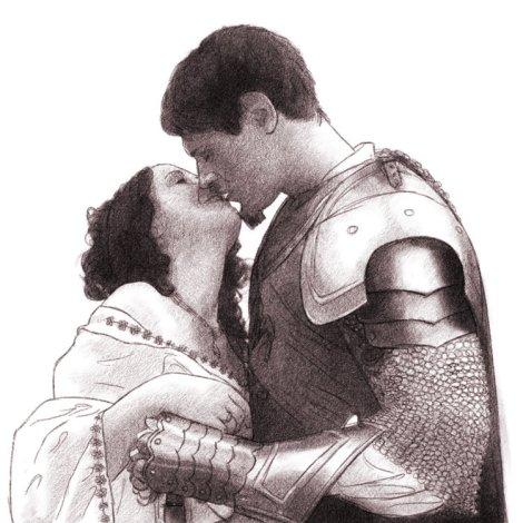 mariage médiéval, prince chevalier princesse, dessin au crayon