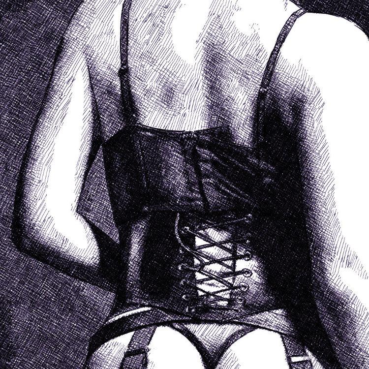 corset dessin numérique à l'encre, par audren