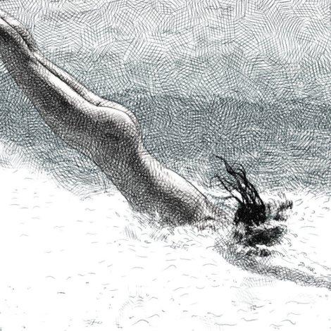 plongeon - dessin numérique au crayon
