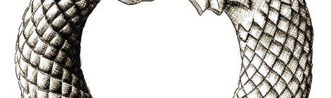 ouroboros - dessin numérique à l'encre à partir d'une photo de sculpture en bois par ljotunnr
