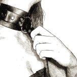 collier et laisse - portrait (détail) numérique à l'encre, par audren le rioual
