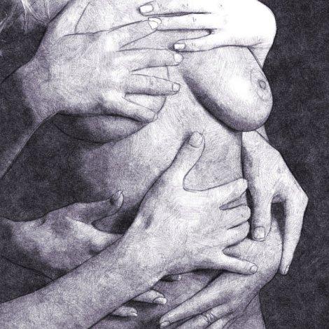 dessin numérique au crayon mains sur un buste de femme