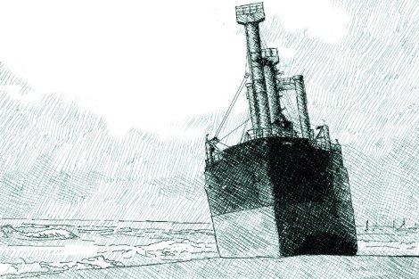 TK bremen échoué en bretagne - dessin numérique par Audren le Rioual