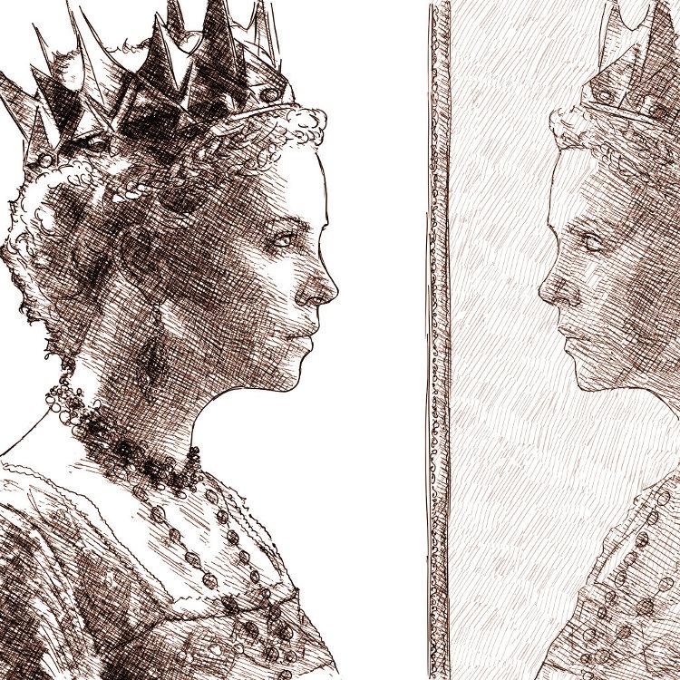 Portrait numérique à l'encre : Charlize Theron en reine de Blanche Neige, devant son miroir