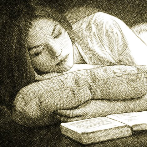 girl reading - digital pencil drawing in mypaint and gimp