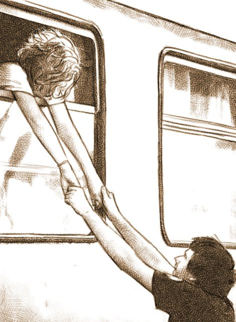 train farewell digital pencil drawing