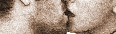 couple kissing - digital pencil drawing