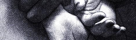 mains retenues dans le dos - dessin numérique au crayon