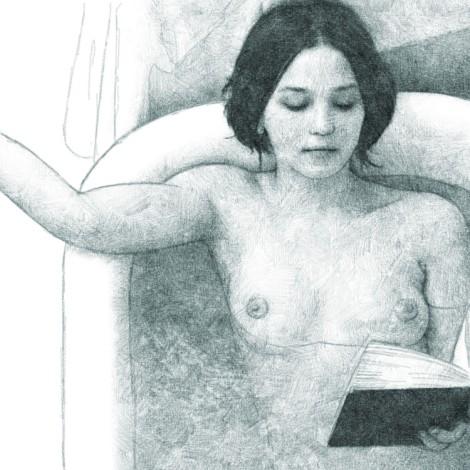 femme lisant dans son bain - dessin numérique au crayon