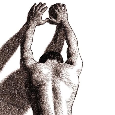 dos musclé nu d'un homme appuyé sur un mur -- dessin numérique à l'encre par audren le rioual