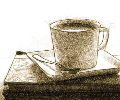 Cup of coffee - digital pencil drawing