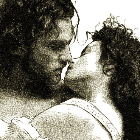 Digital pen and ink drawing of Kenneth Branagh and Helena Bonham Carter kissing in Branagh's Frankenstein movie (1994)
