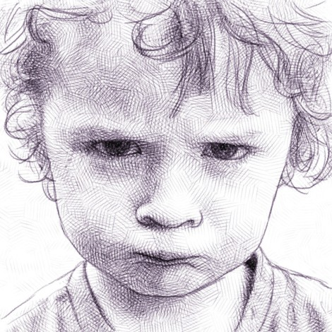 kid sulking big time - digital pencil drawing