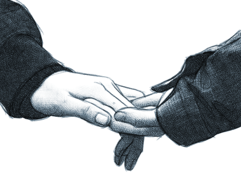 holding hands - digital pencing drawing by Audren
