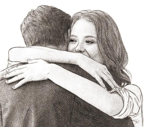 couple hugging - pencil drawing
