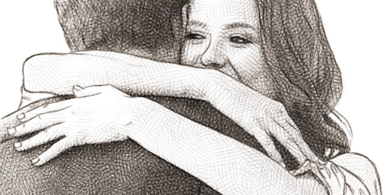 couple hugging - pencil drawing